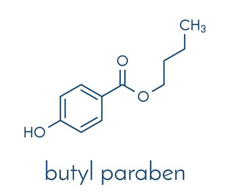 Butyl paraben (butylparaben, butyl 4-hydroxybenzoate) preservative molecule. Skeletal formula.