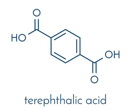 monomer: Terephthalic acid, polyester (PET, polyethylene terephthalate) plastic building block. Skeletal formula.