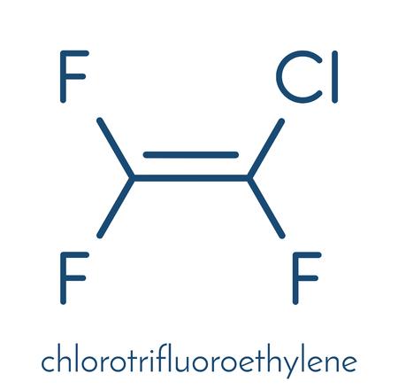 monomer: Chlorotrifluoroethylene (CTFE) refrigerant molecule and polychlorotrifluoroethylene plastic building block. Skeletal formula. Illustration