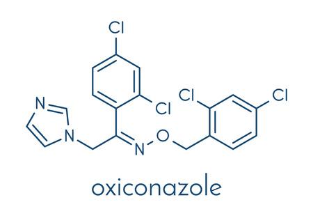 Oxiconazole antifungal drug molecule. Skeletal formula.