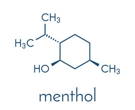 Menthol-molecuul. Aanwezig in pepermunt, maïsmuntjes, enz. Skeletformule. Stock Illustratie