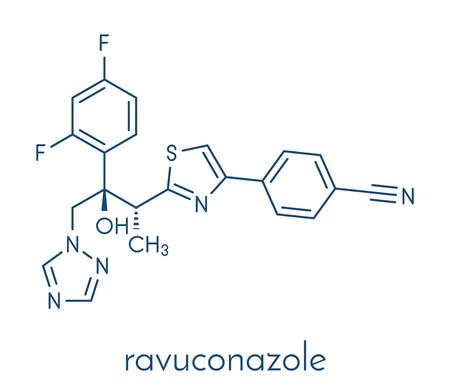 Ravuconazole antifungal drug molecule. Skeletal formula.