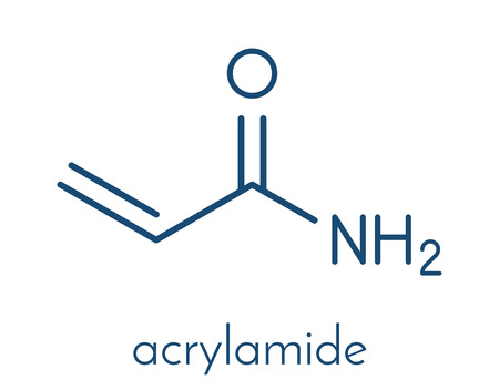 acrylamide molecule, polyacrylamide building block and heat-generated food pollutant. Skeletal formula.