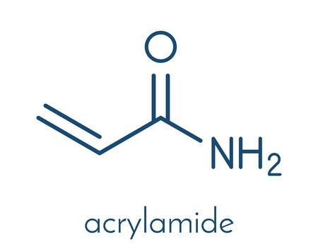 acrylamidemolecule, polyacrylamidebouwsteen en door hitte opgewekte voedselverontreiniging. Skeletachtige formule.