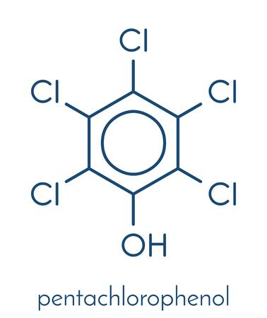 Pentachlorophenol (PCP) pesticide and disinfectant molecule. Often used for wood preservation. Skeletal formula.