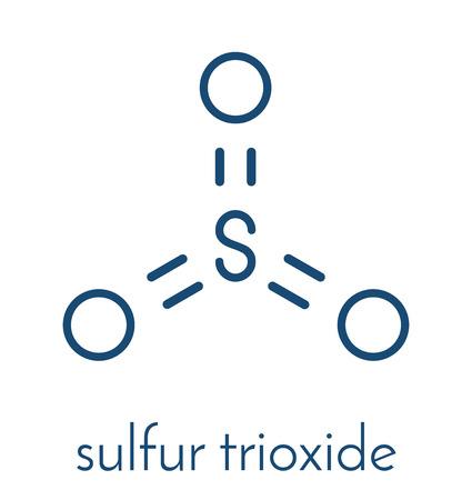 Sulfur trioxide pollutant molecule. Principal agent in acid rain. Skeletal formula. Ilustração