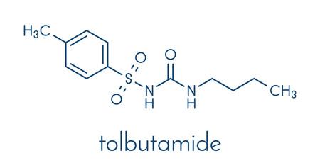 トルブタミド糖尿病薬分子。骨格式。