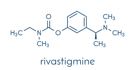 Rivastigmine dementia drug molecule. Skeletal formula. Illustration
