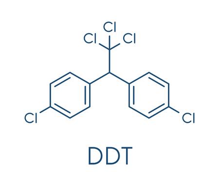 DDT (ジクロロジフェニルトリクロロエタン) 分子。物議を醸す農薬、農業とマラリア病媒介蚊防除のために使用します。骨格式。  イラスト・ベクター素材