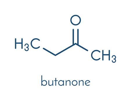 Butanone (methyl ethyl ketone, MEK) industrial solvent, chemical structure. Skeletal formula. Stock Vector - 87062778