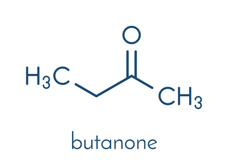 Butanone (methyl ethyl ketone, MEK) industrial solvent, chemical structure. Skeletal formula.