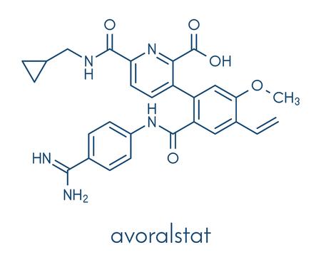 Avoralstat hereditary angioedema (HAE) drug molecule. Skeletal formula.