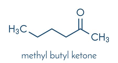 Methylbutylketon (MBK, 2-hexanon) oplosmiddelmolecuul. Skeletformule. Stock Illustratie