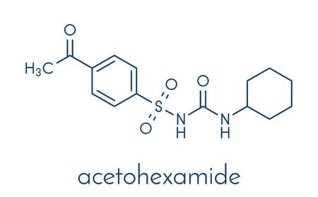 アセトヘキサミド糖尿病薬分子。骨格式。