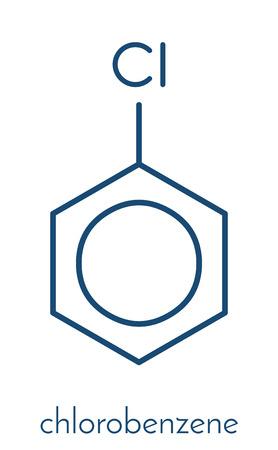 Chlorobenzene industrial solvent molecule. Skeletal formula.