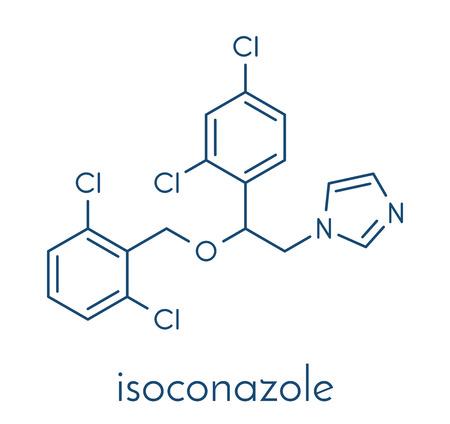 Isoconazole antifungal drug molecule. Skeletal formula.