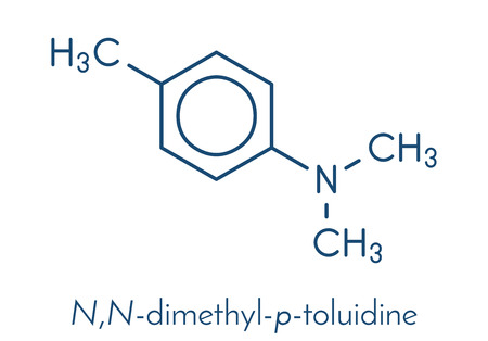 N,N-dimethyl-p-toluidine (DMPT) molecule. Commonly used as catalyst in the production of polymers and in dental materials and bone cements. Skeletal formula.