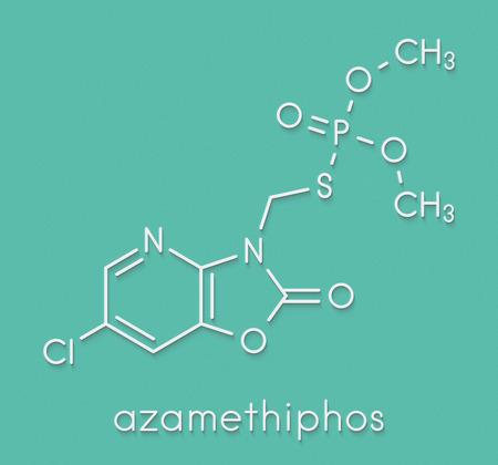 Azamethiphos pesticide molecule. Used in flypaper, veterinary medicine, etc. Skeletal formula. Stock Photo