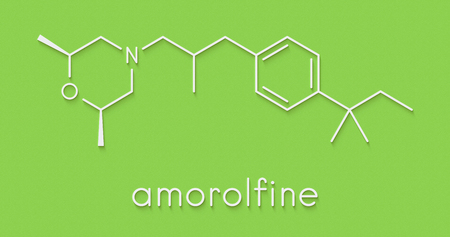 Amorolfine antifungal drug molecule. Commonly used in form of nail lacquer to treat onychomycosis. Skeletal formula.