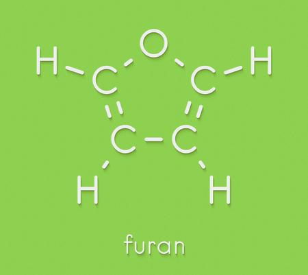 フラン複素環式芳香族分子。骨格式。