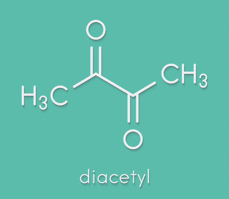 Diacetyl (butanedione) molecule. Responsible for taste of butter. Used for butter flavouring. Causes popcorn worker's lung (bronchiolitis obliterans). Skeletal formula.