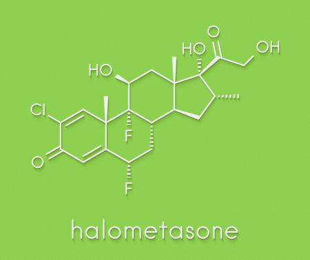 Halometasone topical corticosteroid drug molecule. Skeletal formula.