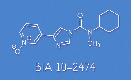 BIA 10-2474 experimental drug molecule. Fatty acid amide hydrolase (FAAH) inhibitor that caused severe adverse events in a clinical trial in France in 2016. Skeletal formula.