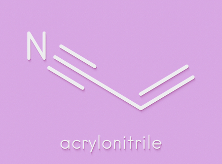Acrylonitrile molecule, polyacrylonitrile (PAN) and ABS plastic (acrylonitrile butadiene styrene) building block. Skeletal formula. Stock Photo