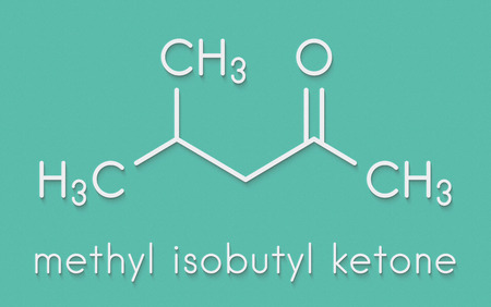 Methyl isobutyl ketone molecule. Used as chemical solvent and to denature alcohol. Skeletal formula.