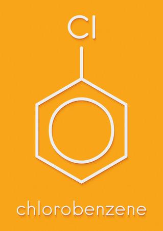 クロロ ベンゼン産業溶媒分子。骨格式。