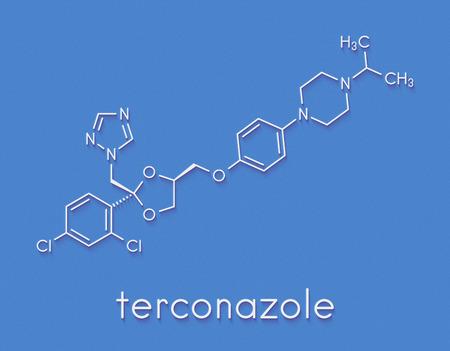Terconazole antifungal drug molecule. Skeletal formula. Stock Photo