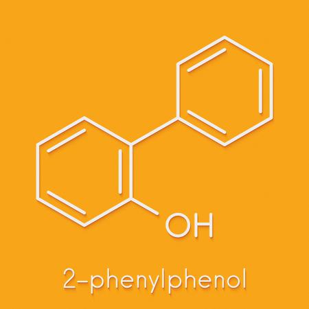 fungicide: 2-phenylphenol preservative molecule. Biocide used as food additive, preservative, and disinfectant.  Skeletal formula.