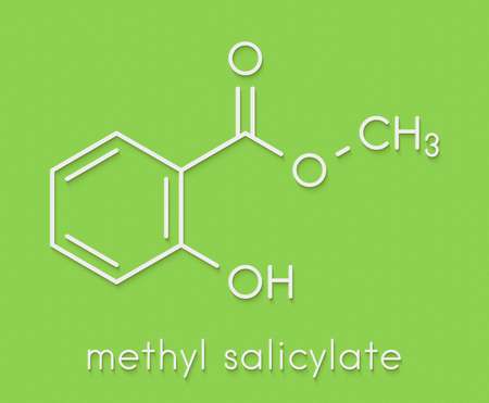 Methyl salicylate (wintergreen oil) molecule. Acts as rubefacient. Used as flavoring agent and fragrance. Skeletal formula.