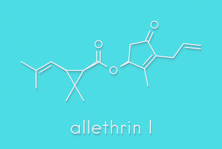 Allethrin pyrethroid insecticide. Synthetic analog of chrysanthemum flower chemical. Often used against mosquitos. Skeletal formula.