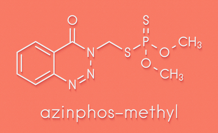 Azinphos-methyl organophosphate insecticide. Acts as neurotoxin through the inhibition of acetylcholinesterase. Skeletal formula.