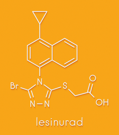 Lesinurad gout drug molecule. Skeletal formula. Stock Photo