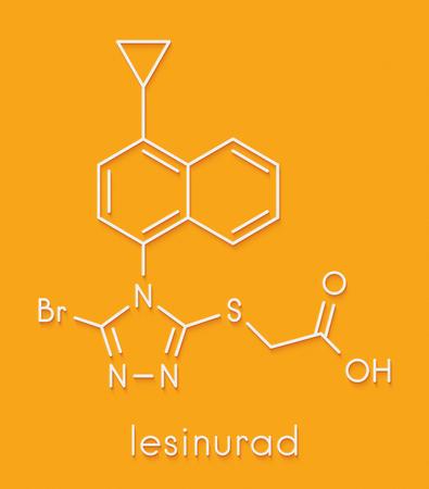 inflammatory: Lesinurad gout drug molecule. Skeletal formula. Stock Photo