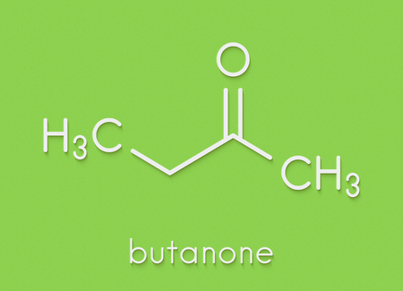 Butanone (methyl ethyl ketone, MEK) industrial solvent, chemical structure. Skeletal formula.