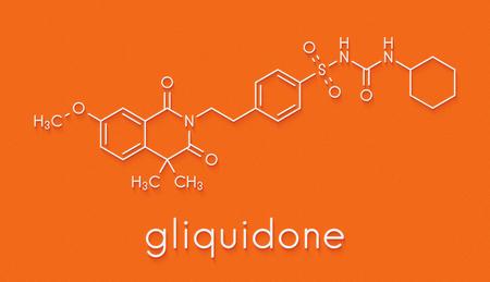 hidrógeno: Gliquidone Diabetes molécula de fármaco. Fórmula esquelética. Foto de archivo