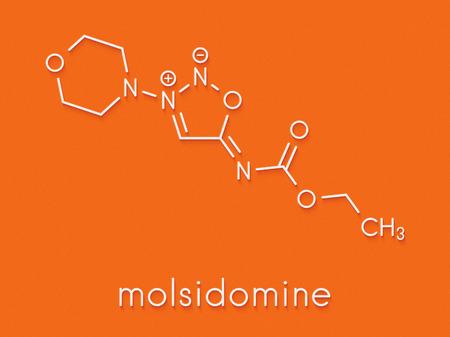 Molsidomine angina drug molecule. Skeletal formula. Stock Photo