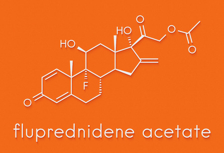 Fluprednidene acetate corticosteroid molecule. Skeletal formula. Stock Photo