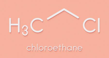 Chloroethane (ethyl chloride) local anesthetic molecule. Skeletal formula.