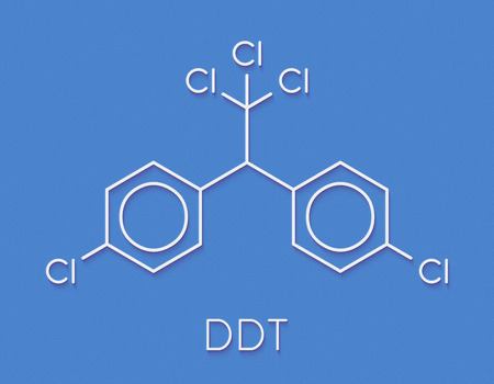 DDT (dichlorodiphenyltrichloroethane) molecule. Controversial pesticide, used in agriculture and for malaria disease vector control. Skeletal formula.