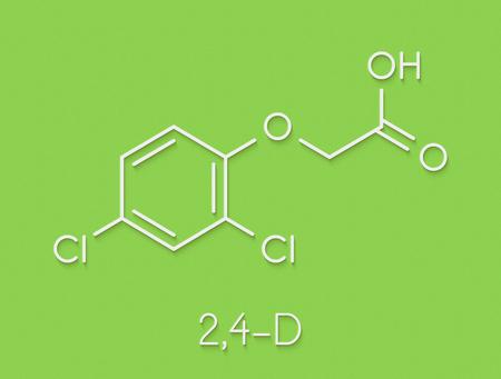 2,4-D (2,4-dichlorophenoxyacetic acid) Agent Orange ingredient. Synthetic auxin plant hormone, used as pesticide and herbicide and ingredient of Agent Orange. Skeletal formula. Stock Photo