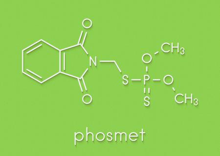 Phosmet organophosphate insecticide molecule. Skeletal formula. Stock Photo