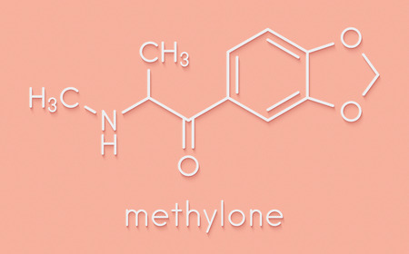 Methylone (bk-MDMA) stimulant molecule. Used as recreational drug. Skeletal formula. Stock Photo