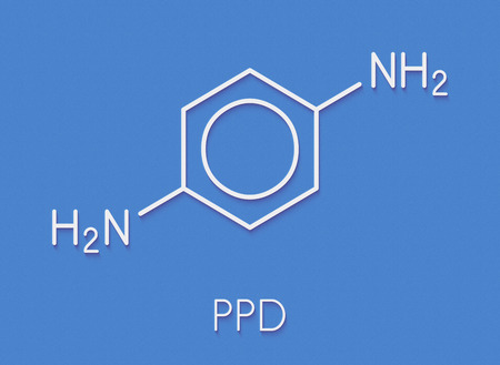 p-Phenylenediamine (PPD) hair dye molecule. Also precursor in polymer synthesis. Known contact allergen, possibly carcinogenic. Skeletal formula.