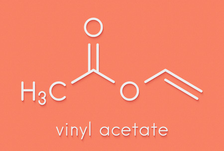 Vinyl acetate, polyvinyl acetate (PVA, PVAc) glue building block. PVA is used in a number of glue types. Skeletal formula.