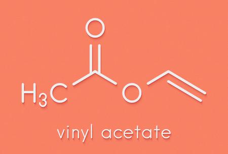 pva: Vinyl acetate, polyvinyl acetate (PVA, PVAc) glue building block. PVA is used in a number of glue types. Skeletal formula.