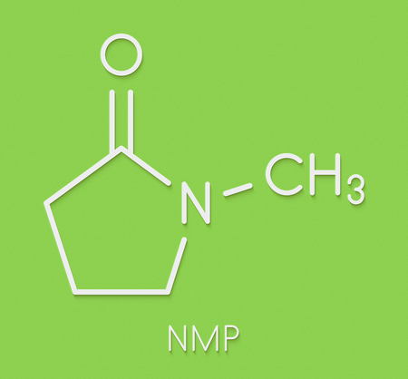 N-methyl-2-pyrrolidone (NMP) chemical solvent molecule. Skeletal formula.